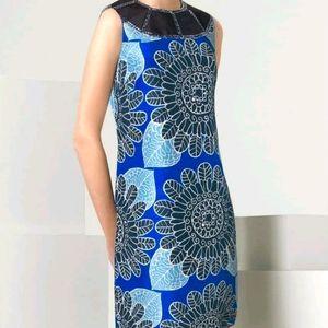 "Tory Burch ""Hollie"" Silk Dress Size 6 Blue Floral"